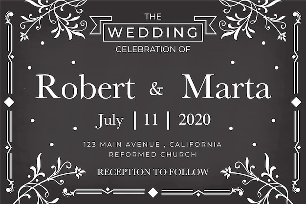 Modelo de convite de casamento no quadro-negro