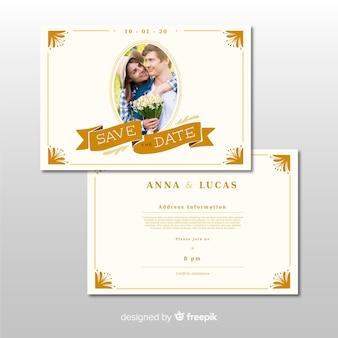 Modelo de convite de casamento ornamental com foto