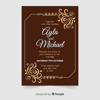 Modelo de convite de casamento ornamental retrô