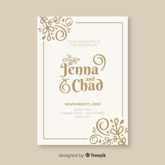 Modelo de convite de casamento ornamental vintage
