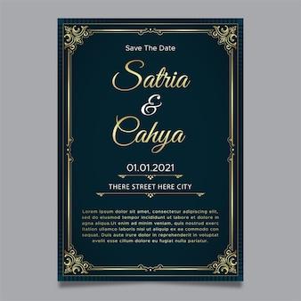 Modelo de convite de casamento ornamento dourado
