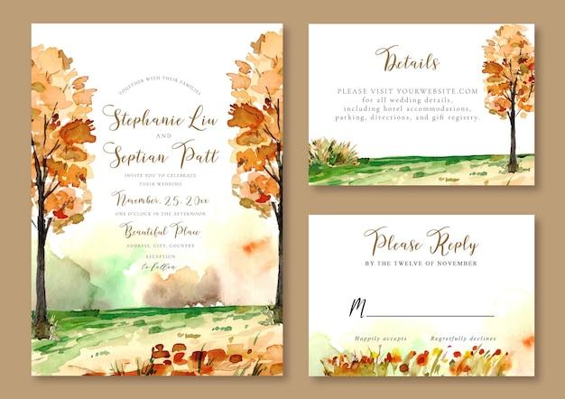 Modelo de convite de casamento paisagem em aquarela de árvores amarelas com tema de outono