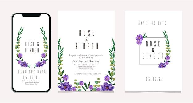 Modelo de convite de casamento para mídia social com flores roxas