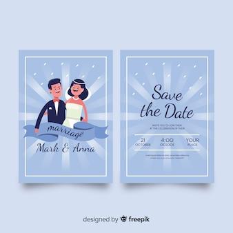 Modelo de convite de casamento plana