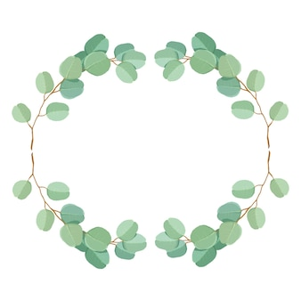 Modelo de convite de casamento premium de folhas e galhos de eucalipto verde