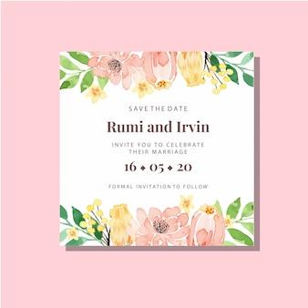 Modelo de convite de casamento quadrado clássico floral pêssego em aquarela e amarelo