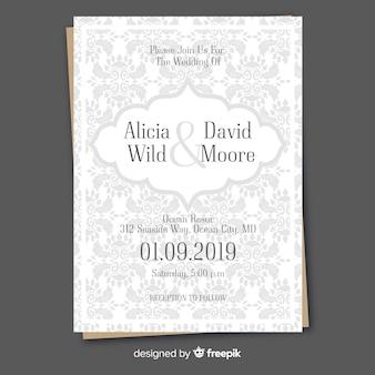 Modelo de convite de casamento retrô com ornamentos
