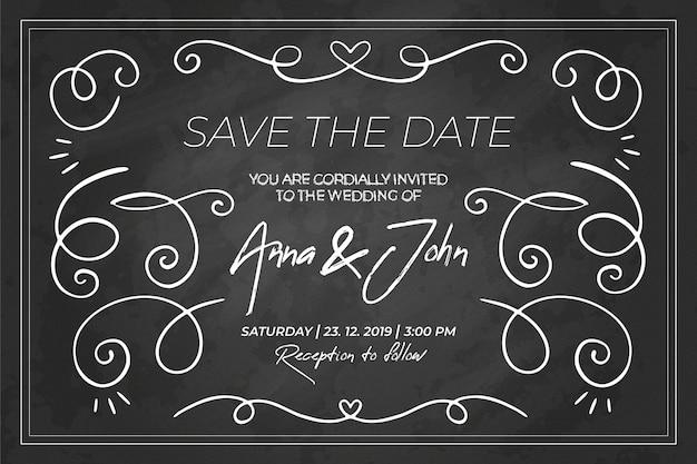 Modelo de convite de casamento retrô de quadro-negro