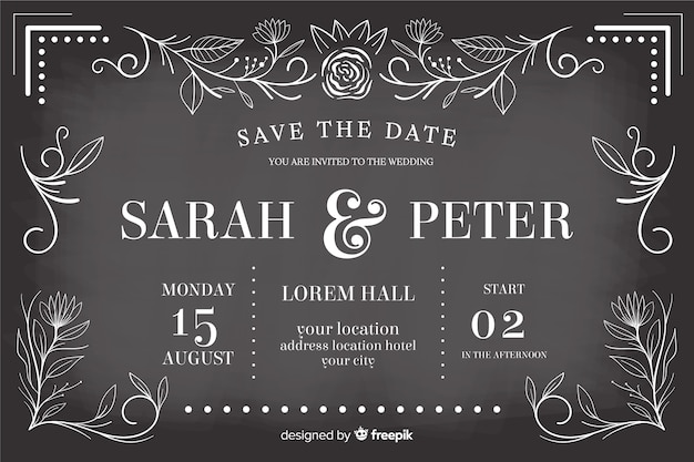 Modelo de convite de casamento retrô no quadro-negro
