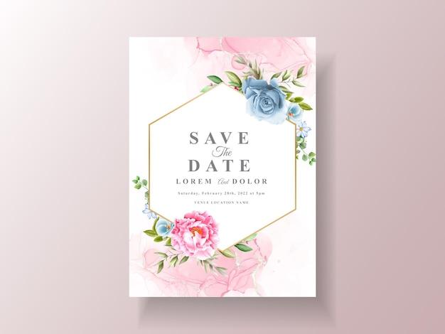 Modelo de convite de casamento romântico em aquarela
