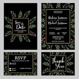 Modelo de convite de casamento rústico conjunto com vegetação