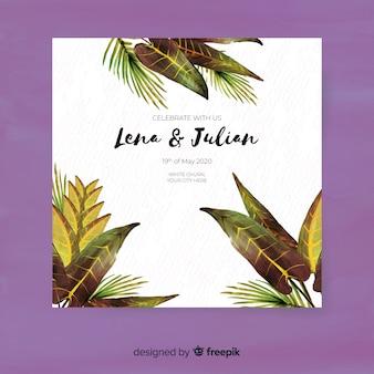 Modelo de convite de casamento tropical em aquarela