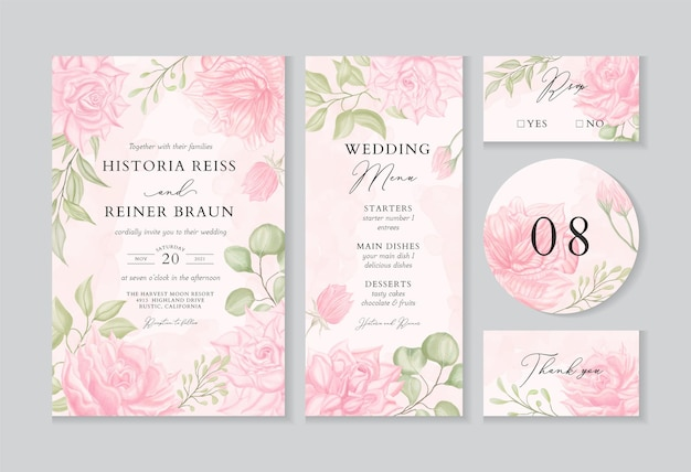 Modelo de convite de casamento vintage com decoração floral em aquarela