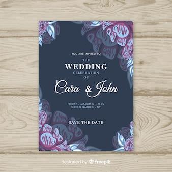 Modelo de convite de casamento vintage floral
