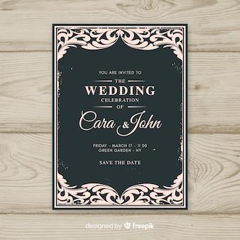 Modelo de convite de casamento vintage ornamentais