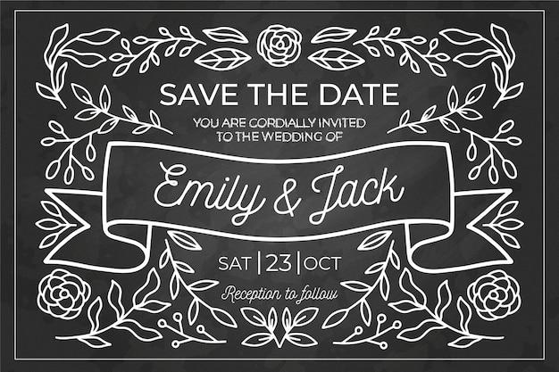 Modelo de convite de casamento vintage requintado no quadro-negro