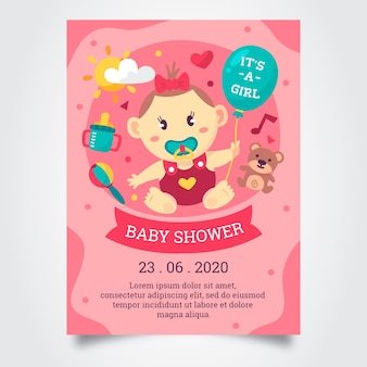 Modelo de convite de chuveiro bebê menina