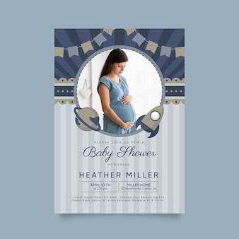 Modelo de convite de chuveiro bebê menino