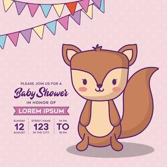 Modelo de convite de chuveiro de bebê com bandeirolas decorativas e ícone de raposa bonitinho sobre fundo rosa, col