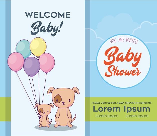 Modelo de convite de chuveiro de bebê com cães bonitos com balões coloridos sobre fundo azul, vetor il