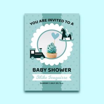Modelo de convite de chuveiro de bebê com foto para menino