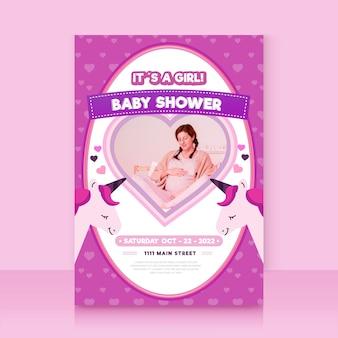 Modelo de convite de chuveiro de bebê com foto