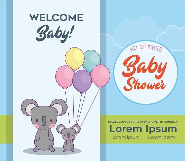 Modelo de convite de chuveiro de bebê com koalas bonitos com ballons coloridos sobre fundo azul, vetor