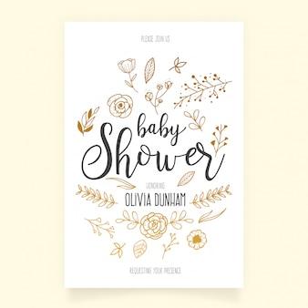 Modelo de convite de chuveiro de bebê com mão desenhada ornamentos