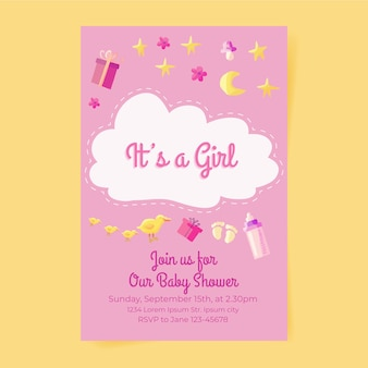 Modelo de convite de chuveiro de bebê menina