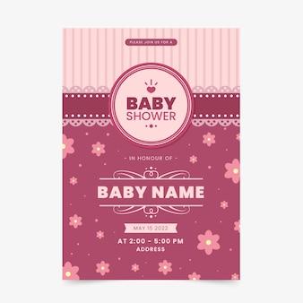 Modelo de convite de chuveiro de bebê para menina
