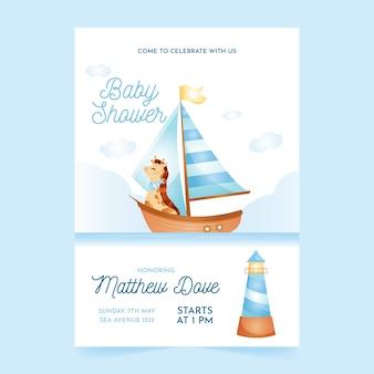 Modelo de convite de chuveiro de bebê para menino