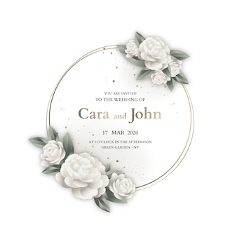 Modelo de convite de design de moldura de casamento