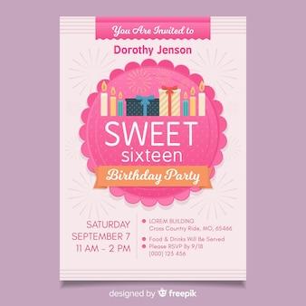 Modelo de convite de dezesseis presentes de aniversário