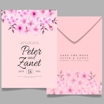 Modelo de convite de evento de casamento floral elegante