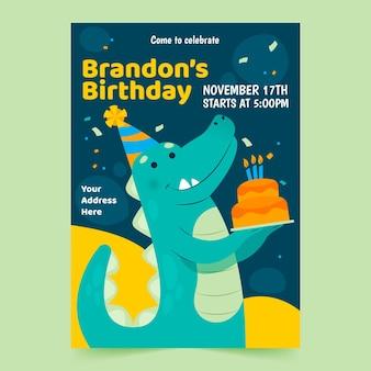 Modelo de convite de feliz aniversário com dinossauro