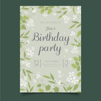 Modelo de convite de feliz aniversário de flores pequenas brancas