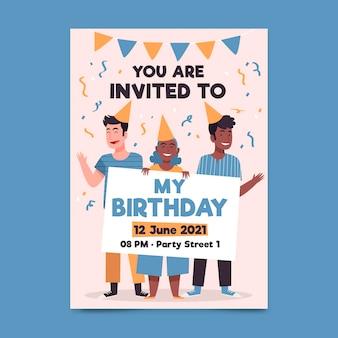 Modelo de convite de festa de aniversário ilustrado