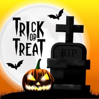 Modelo de convite de festa de halloween com tumba