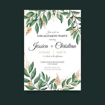 Modelo de convite de festa de noivado floral