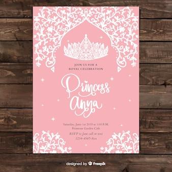 Modelo de convite de festa de princesa de videira mão desenhada
