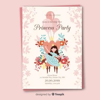 Modelo de convite de festa de princesa desenhada de mão com flores