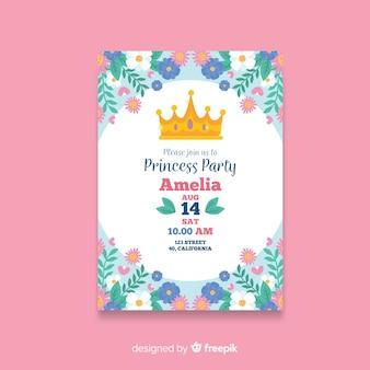 Modelo de convite de festa de princesa desenhada de mão