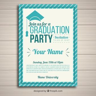 Modelo de convite de festa elegante graduação com design plano