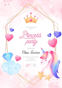 Modelo de convite de festa linda princesa com elementos de fantasia