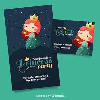 Modelo de convite de festa princesa plana