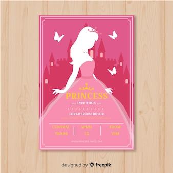 Modelo de convite de festa princesa silhueta plana