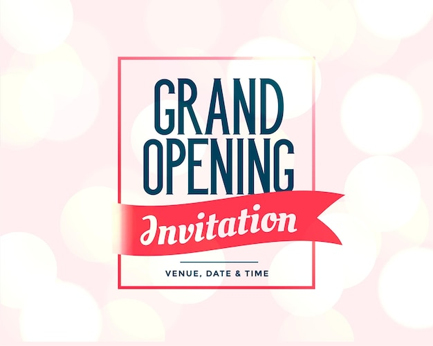 Modelo de convite de inauguração com detalhes do evento
