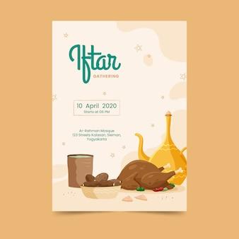 Modelo de convite de mão desenhada iftar
