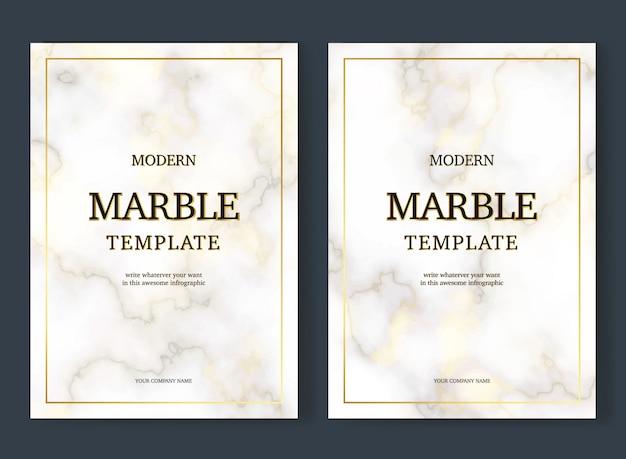 Modelo de convite de mármore elegante com detalhes dourados