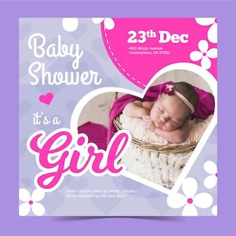 Modelo de convite de menina bebê chuveiro com foto